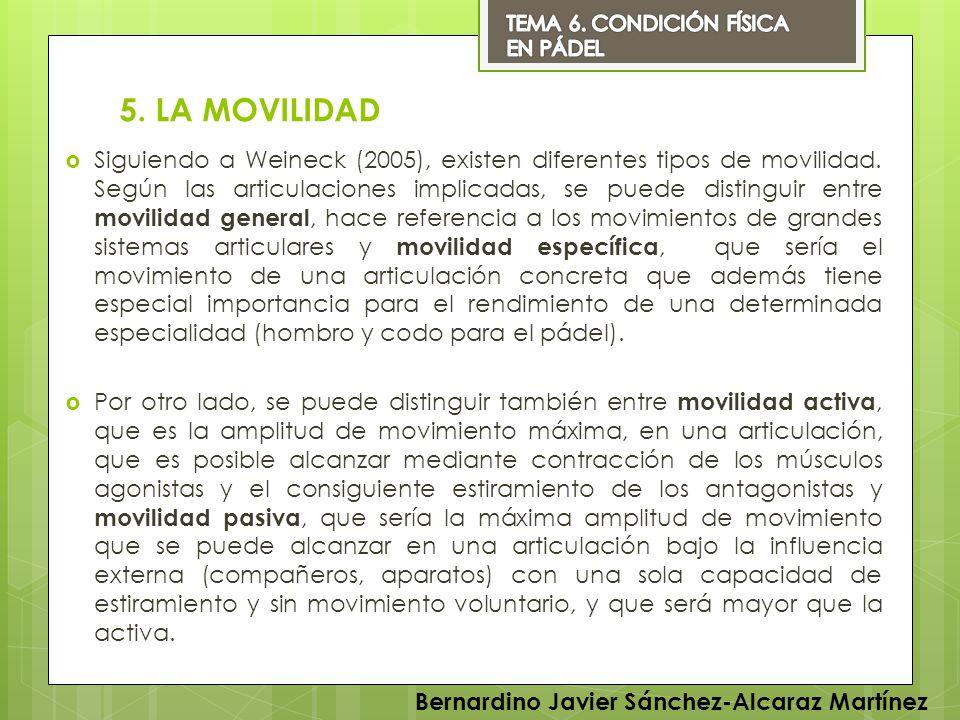 TEMA 6. CONDICIÓN FÍSICA EN PÁDEL. 5. LA MOVILIDAD.