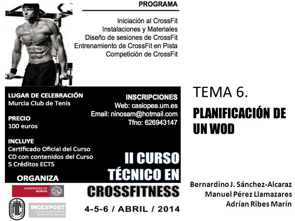 TEMA 6. PLANIFICACIÓN DE UN WOD Bernardino J. Sánchez-Alcaraz