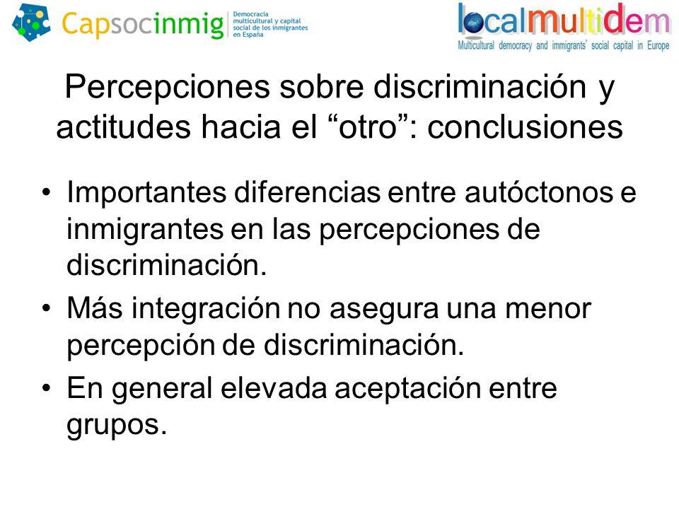 Percepciones sobre discriminación y actitudes hacia el otro : conclusiones