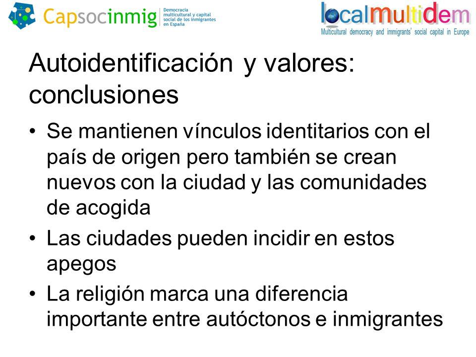 Autoidentificación y valores: conclusiones