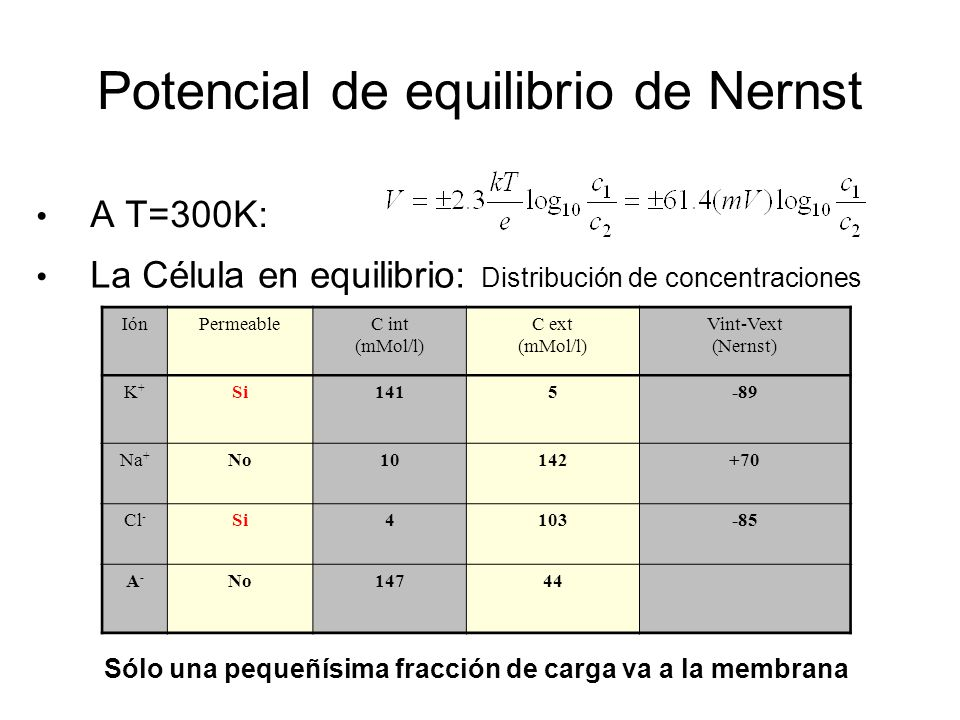 Potencial de equilibrio de Nernst
