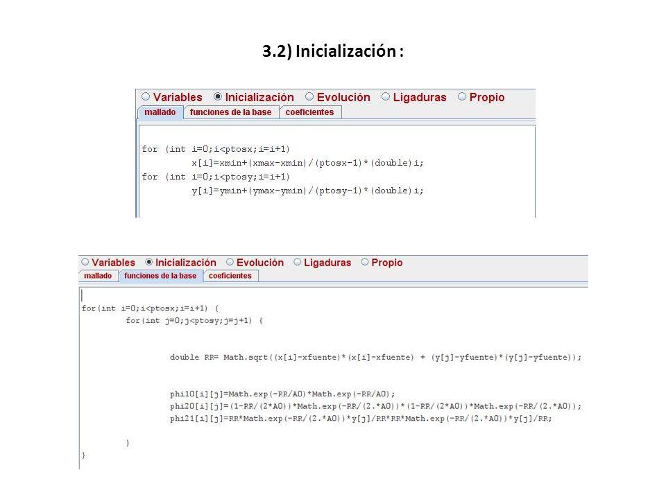 3.2) Inicialización :