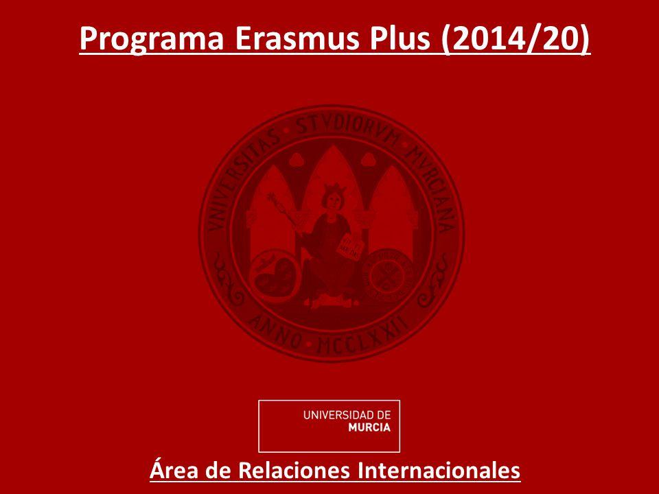 Programa Erasmus Plus (2014/20) Área de Relaciones Internacionales