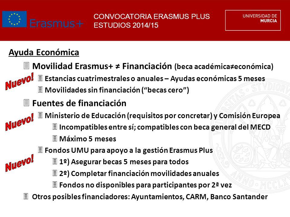 Movilidad Erasmus+ ≠ Financiación (beca académica≠económica)