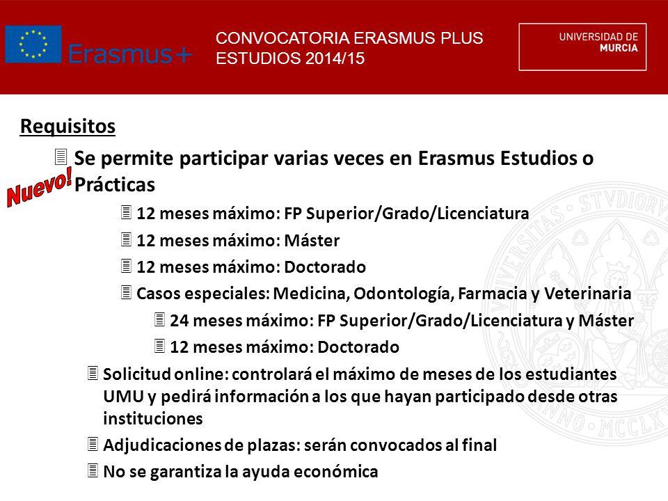 Se permite participar varias veces en Erasmus Estudios o Prácticas