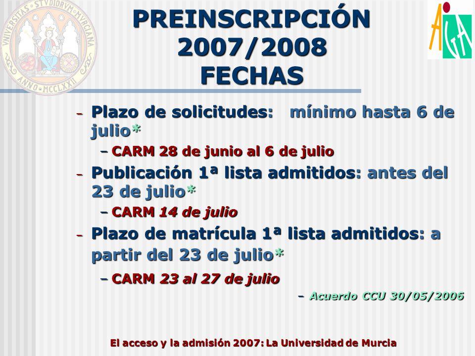 PREINSCRIPCIÓN 2007/2008 FECHAS