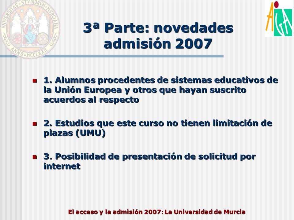 3ª Parte: novedades admisión 2007