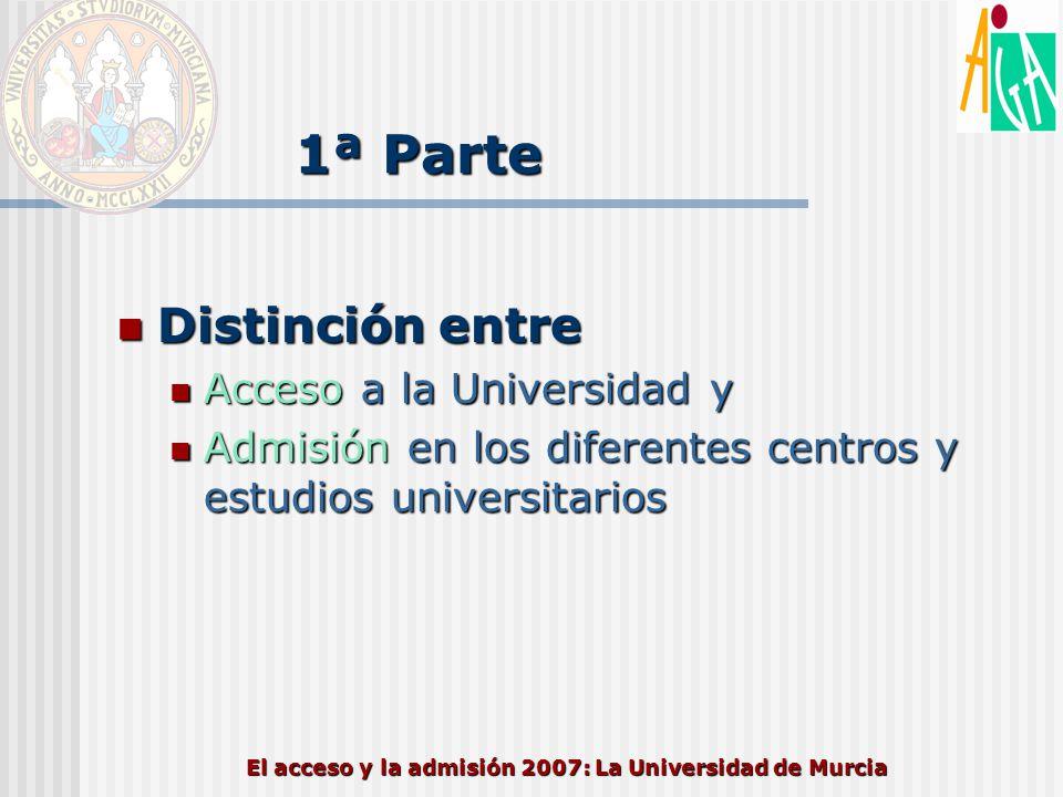 El acceso y la admisión 2007: La Universidad de Murcia
