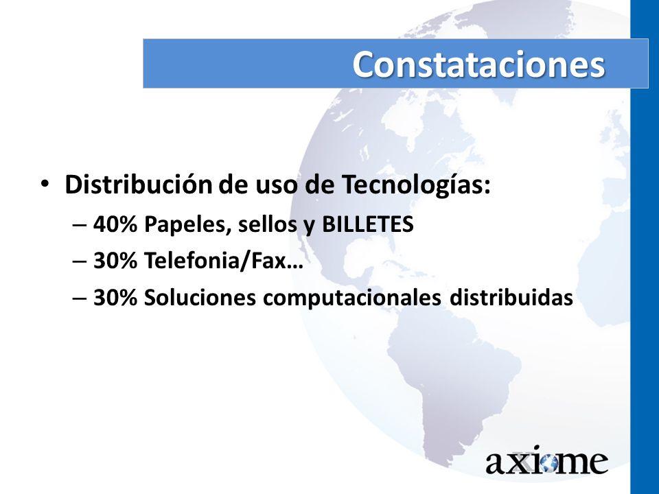 Constataciones Distribución de uso de Tecnologías: