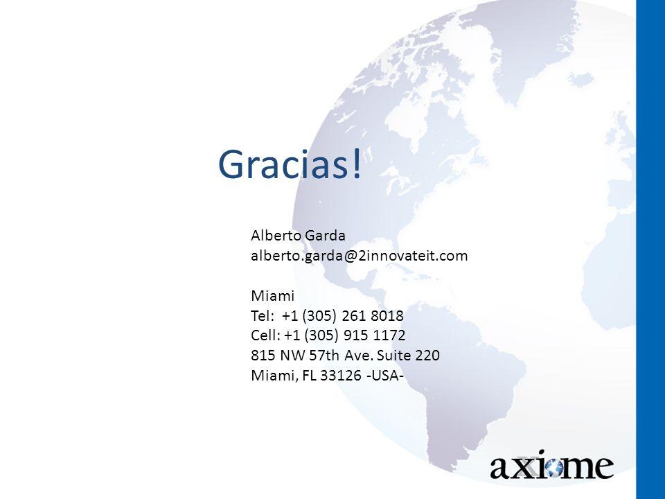 Gracias! Alberto Garda alberto.garda@2innovateit.com Miami