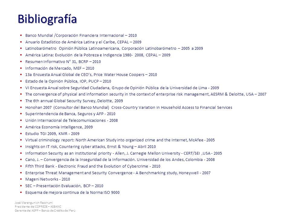Bibliografía Banco Mundial /Corporación Financiera Internacional – 2010. Anuario Estadístico de América Latina y el Caribe, CEPAL – 2009.