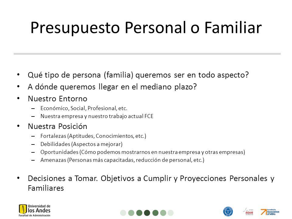 Presupuesto Personal o Familiar