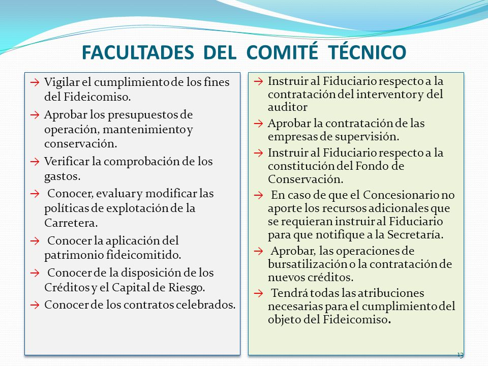 FACULTADES DEL COMITÉ TÉCNICO