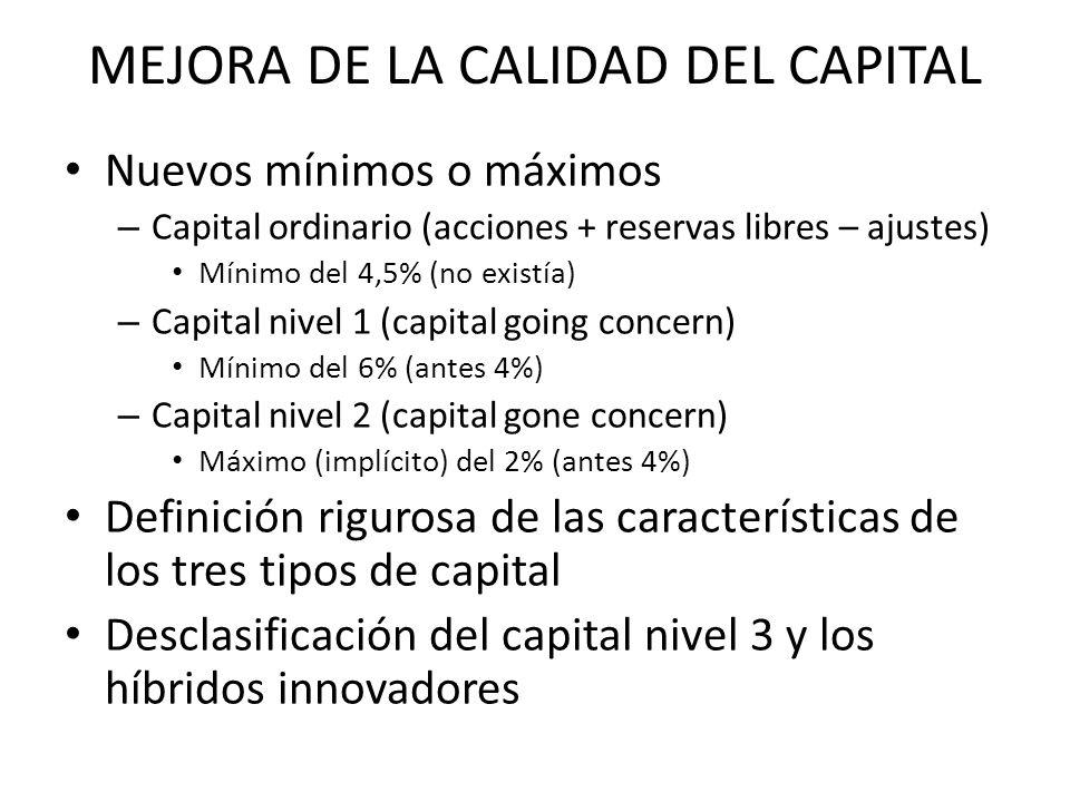 MEJORA DE LA CALIDAD DEL CAPITAL