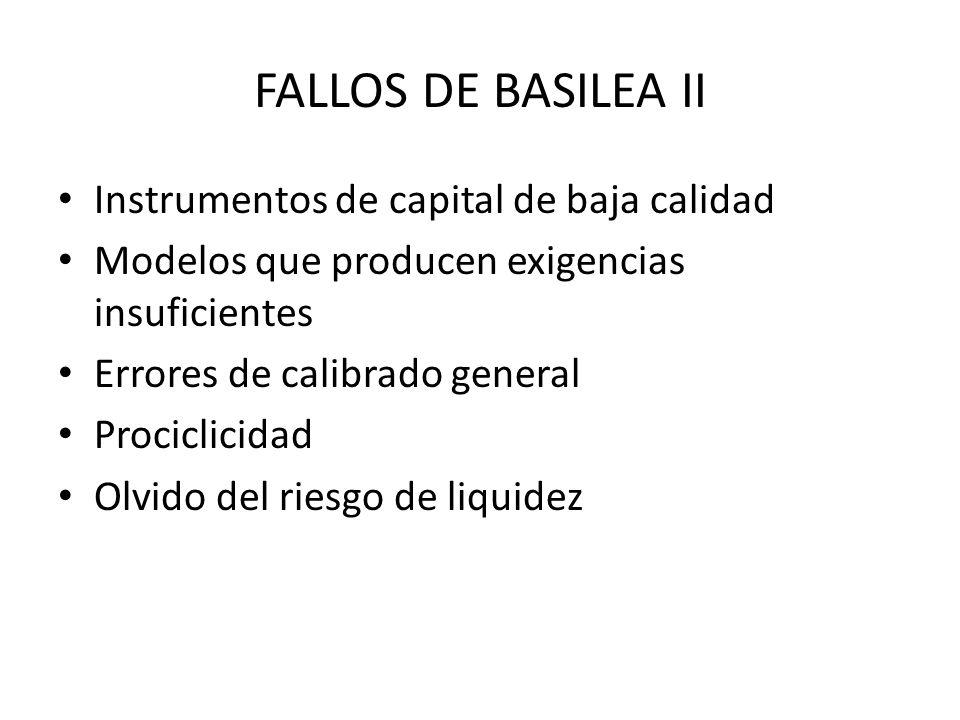 FALLOS DE BASILEA II Instrumentos de capital de baja calidad