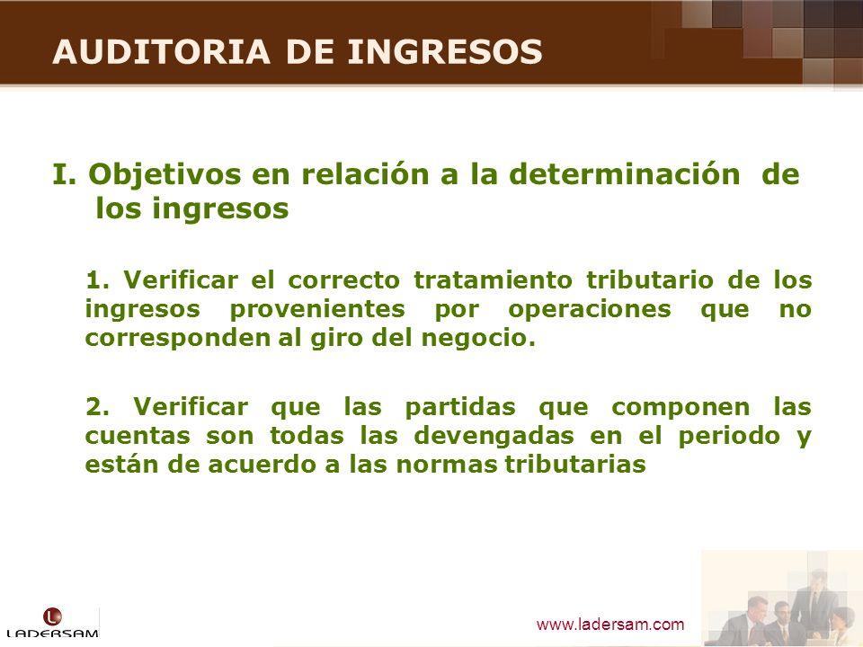 AUDITORIA DE INGRESOS I. Objetivos en relación a la determinación de los ingresos.