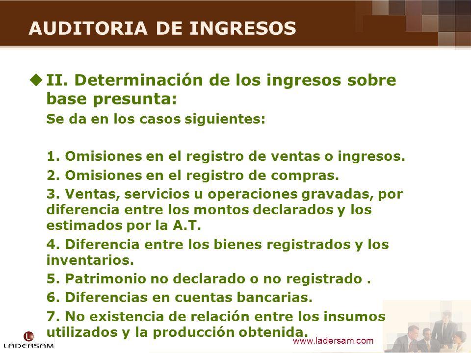 AUDITORIA DE INGRESOS II. Determinación de los ingresos sobre base presunta: Se da en los casos siguientes: