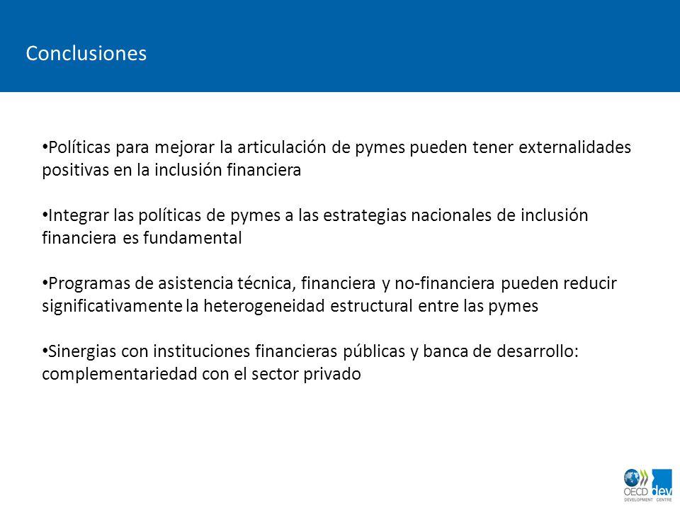 dimanche 2 avril 2017 Conclusiones. Políticas para mejorar la articulación de pymes pueden tener externalidades positivas en la inclusión financiera.