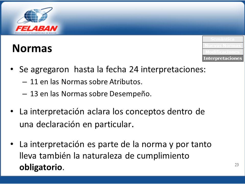Normas Se agregaron hasta la fecha 24 interpretaciones:
