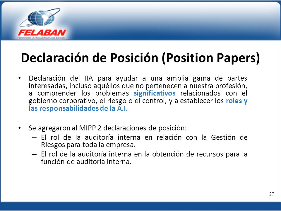 Declaración de Posición (Position Papers)