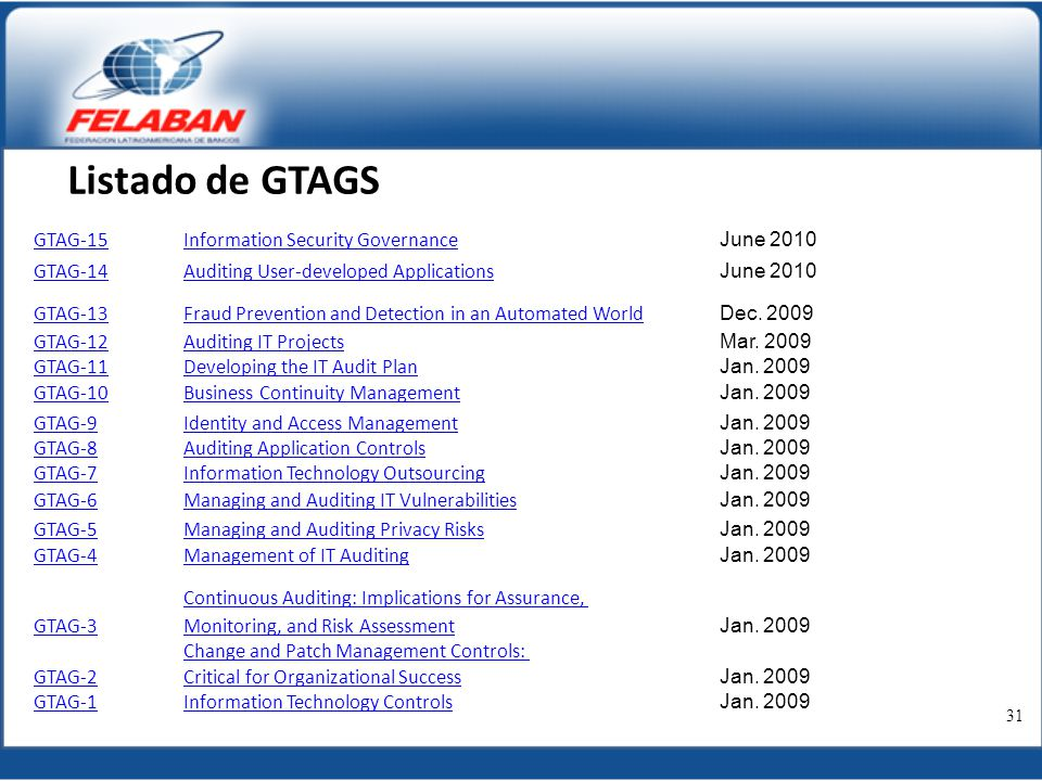 Listado de GTAGS GTAG-15 Information Security Governance June 2010