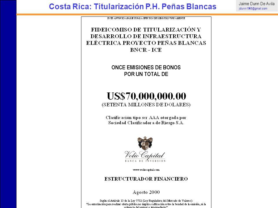 Costa Rica: Titularización P.H. Peñas Blancas