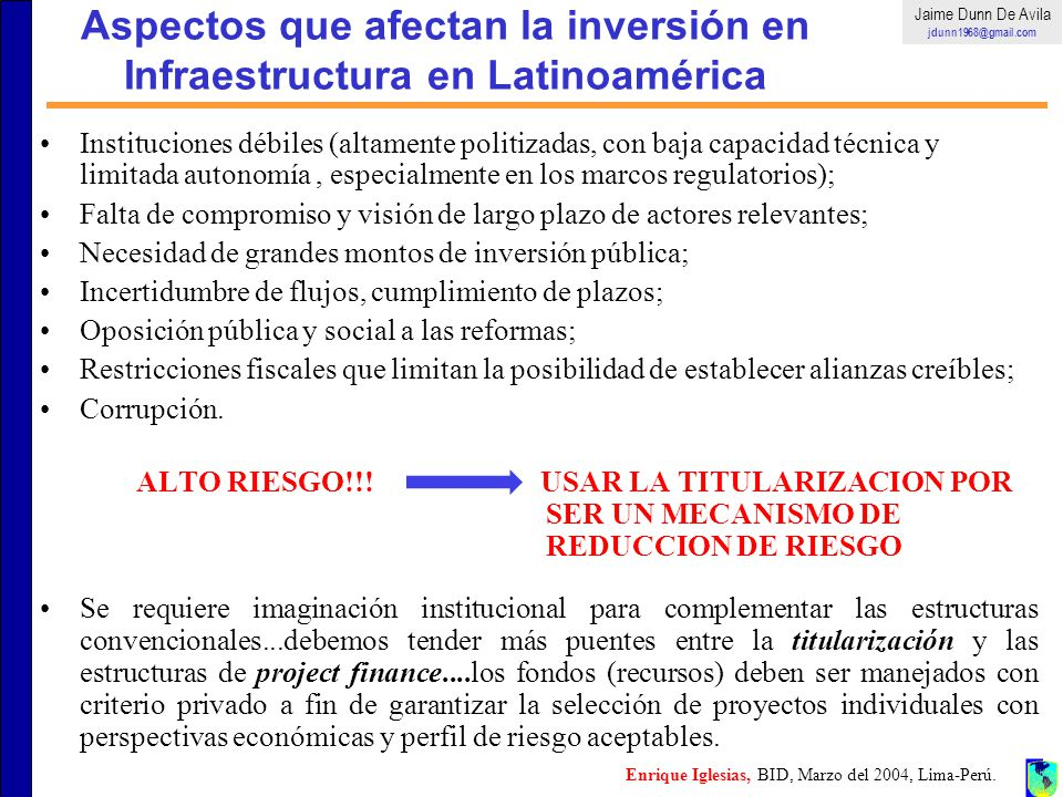 Aspectos que afectan la inversión en Infraestructura en Latinoamérica