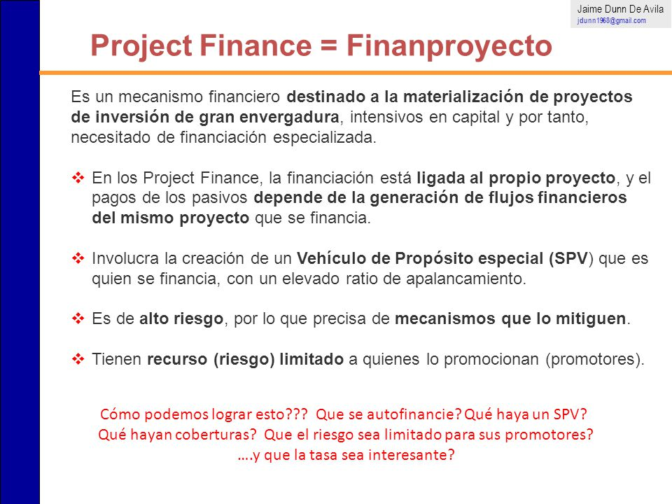 Project Finance = Finanproyecto