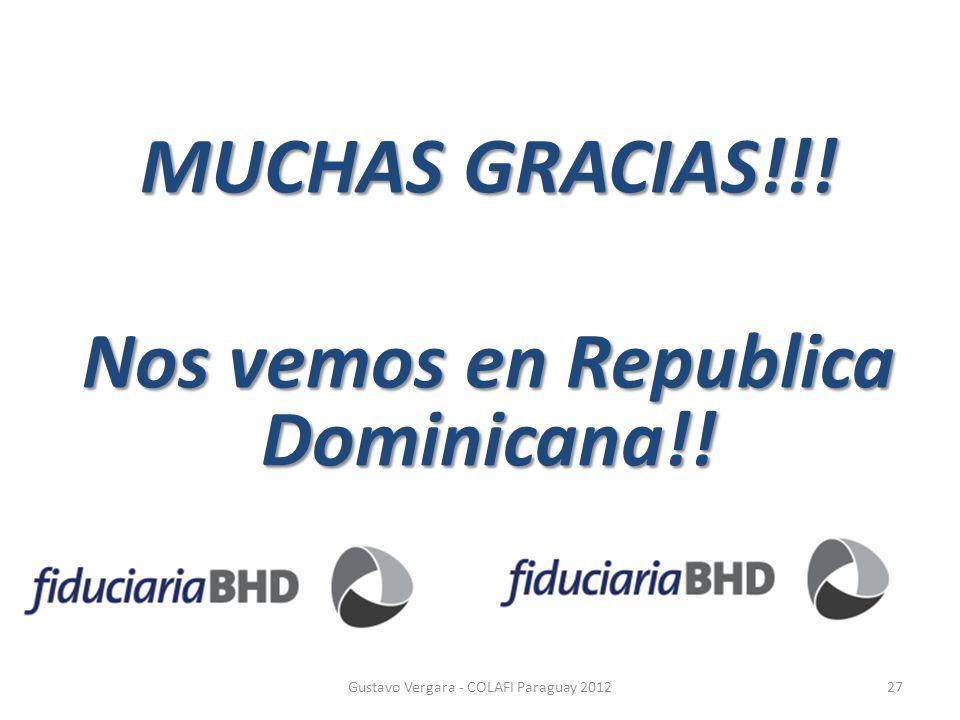 MUCHAS GRACIAS!!! Nos vemos en Republica Dominicana!!