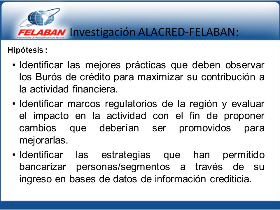 Investigación ALACRED-FELABAN: