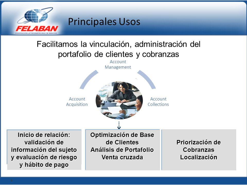 Principales Usos Facilitamos la vinculación, administración del portafolio de clientes y cobranzas.