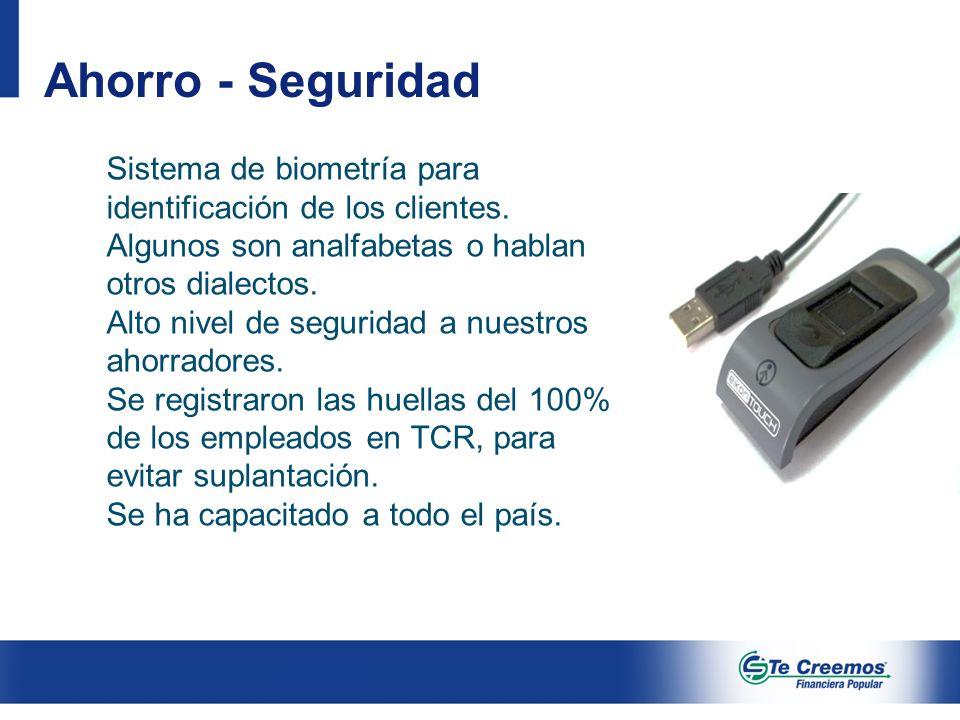 Ahorro - Seguridad Sistema de biometría para identificación de los clientes. Algunos son analfabetas o hablan otros dialectos.