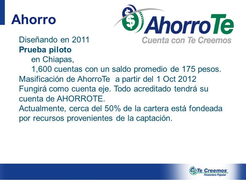 Ahorro Diseñando en 2011 Prueba piloto en Chiapas,