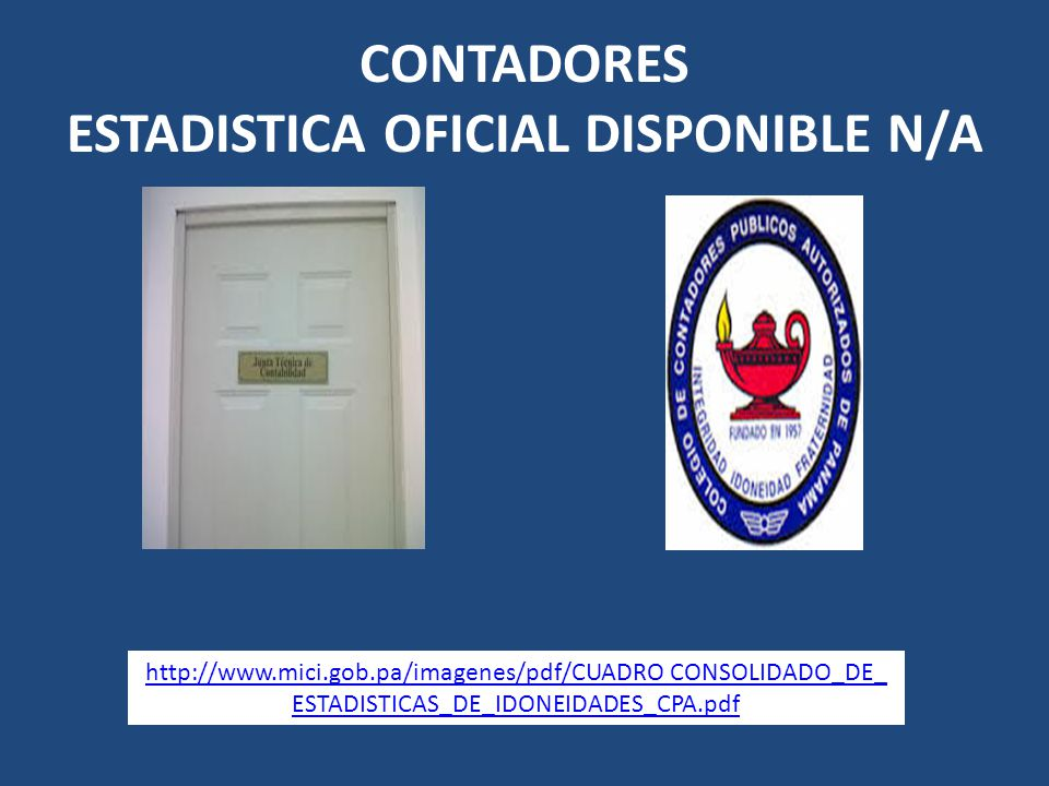 CONTADORES ESTADISTICA OFICIAL DISPONIBLE N/A