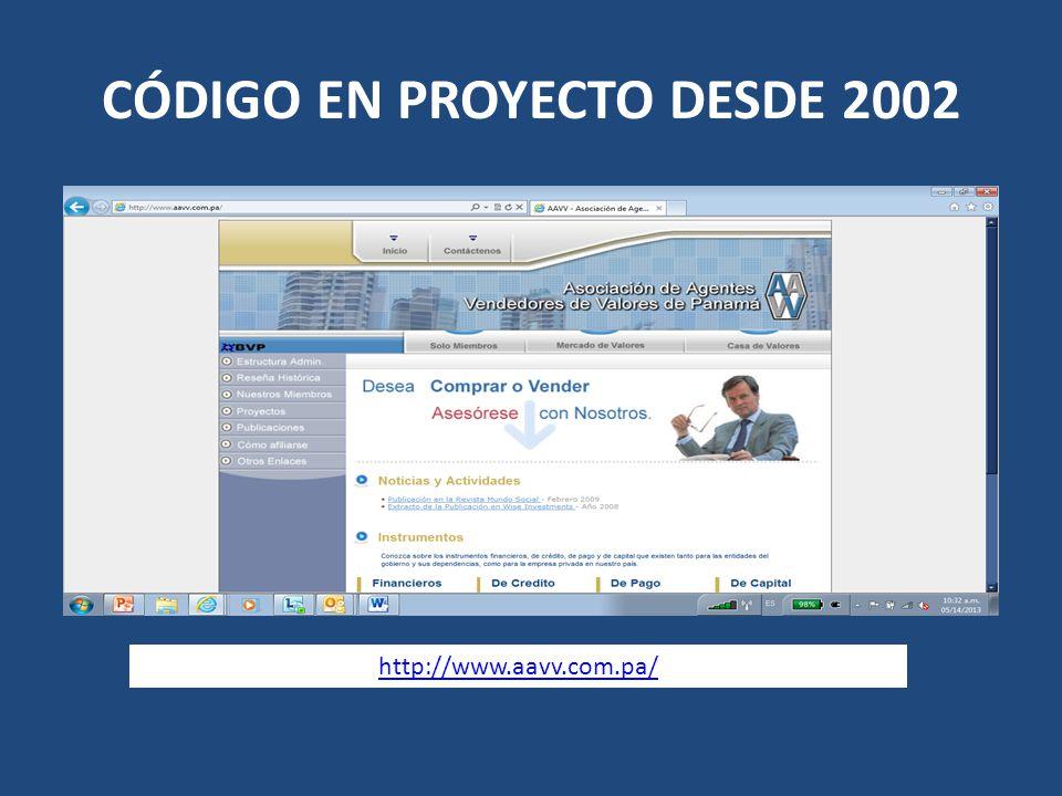 CÓDIGO EN PROYECTO DESDE 2002