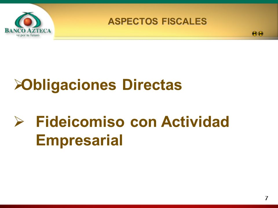 Obligaciones Directas Fideicomiso con Actividad Empresarial