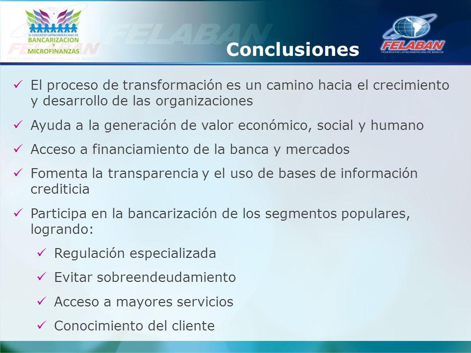 Conclusiones El proceso de transformación es un camino hacia el crecimiento y desarrollo de las organizaciones.