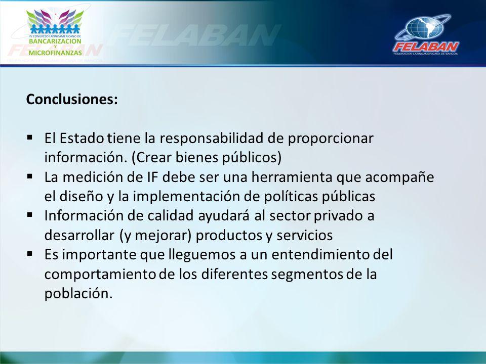 Conclusiones: El Estado tiene la responsabilidad de proporcionar información. (Crear bienes públicos)
