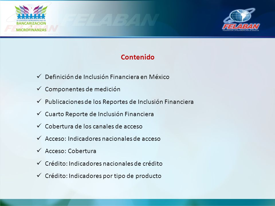 Contenido Definición de Inclusión Financiera en México