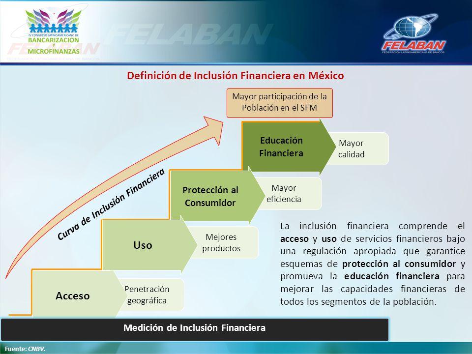 Definición de Inclusión Financiera en México Uso Acceso