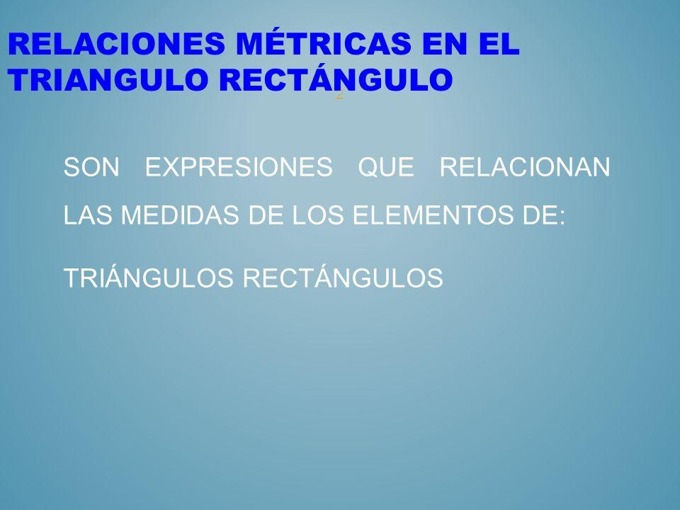 RELACIONES MÉTRICAS EN EL TRIANGULO RECTÁNGULO