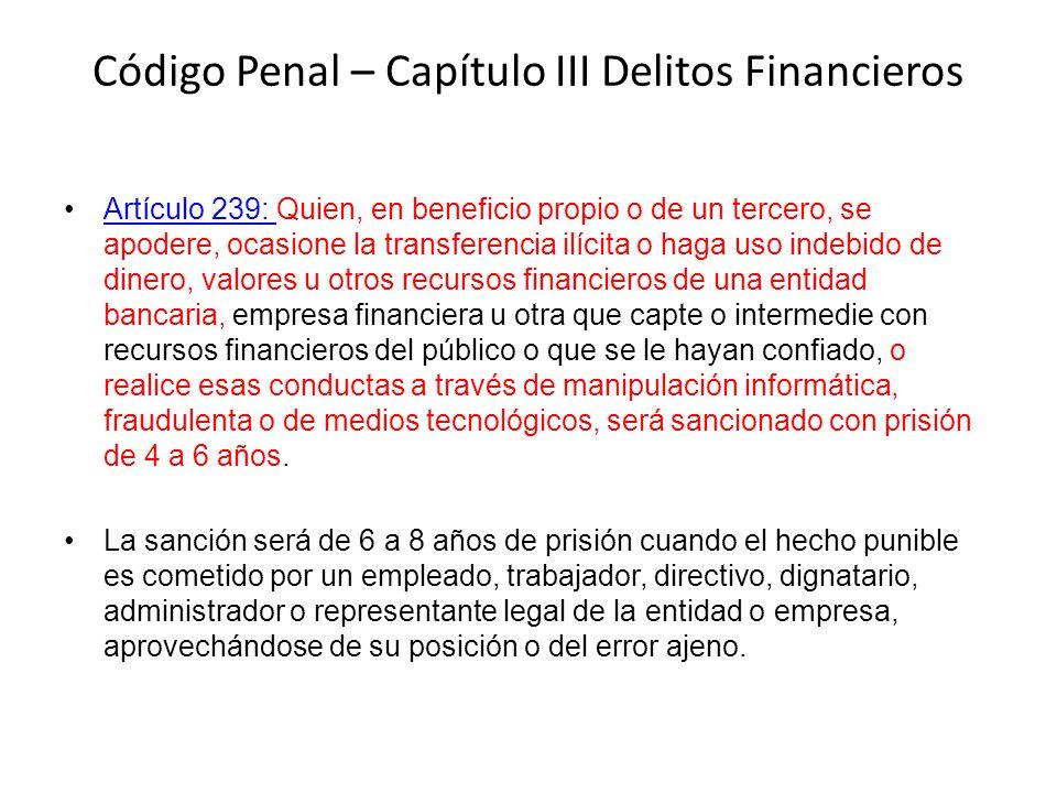 Código Penal – Capítulo III Delitos Financieros