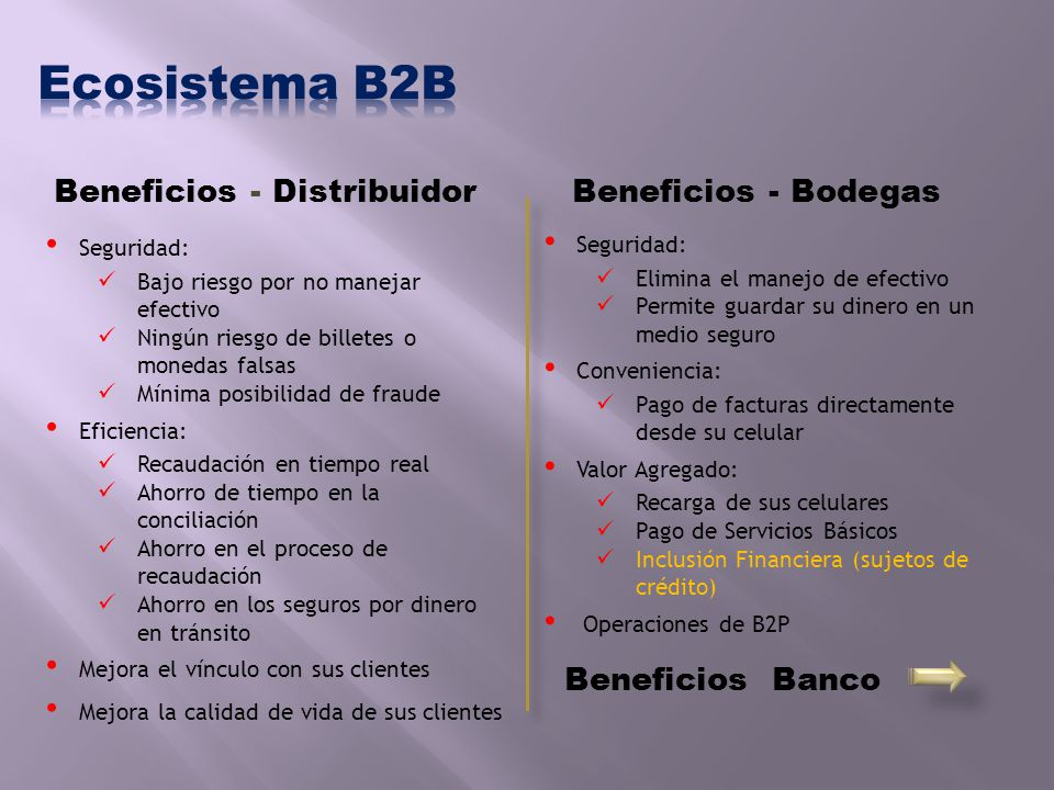 Ecosistema B2B Beneficios - Distribuidor Beneficios - Bodegas