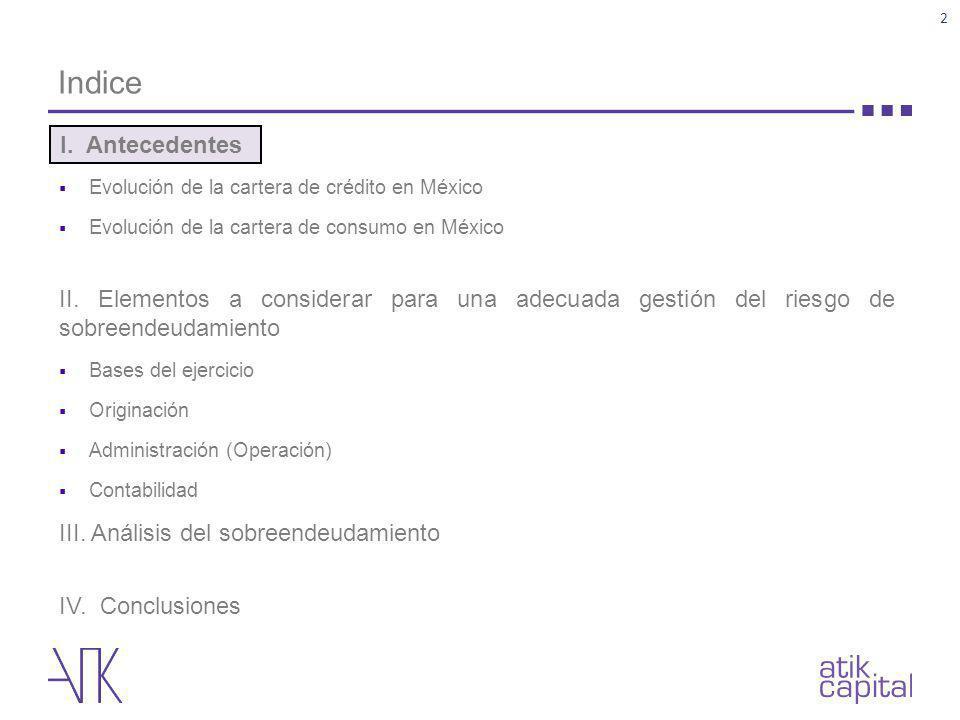 Indice Evolución de la cartera de crédito en México. Evolución de la cartera de consumo en México.