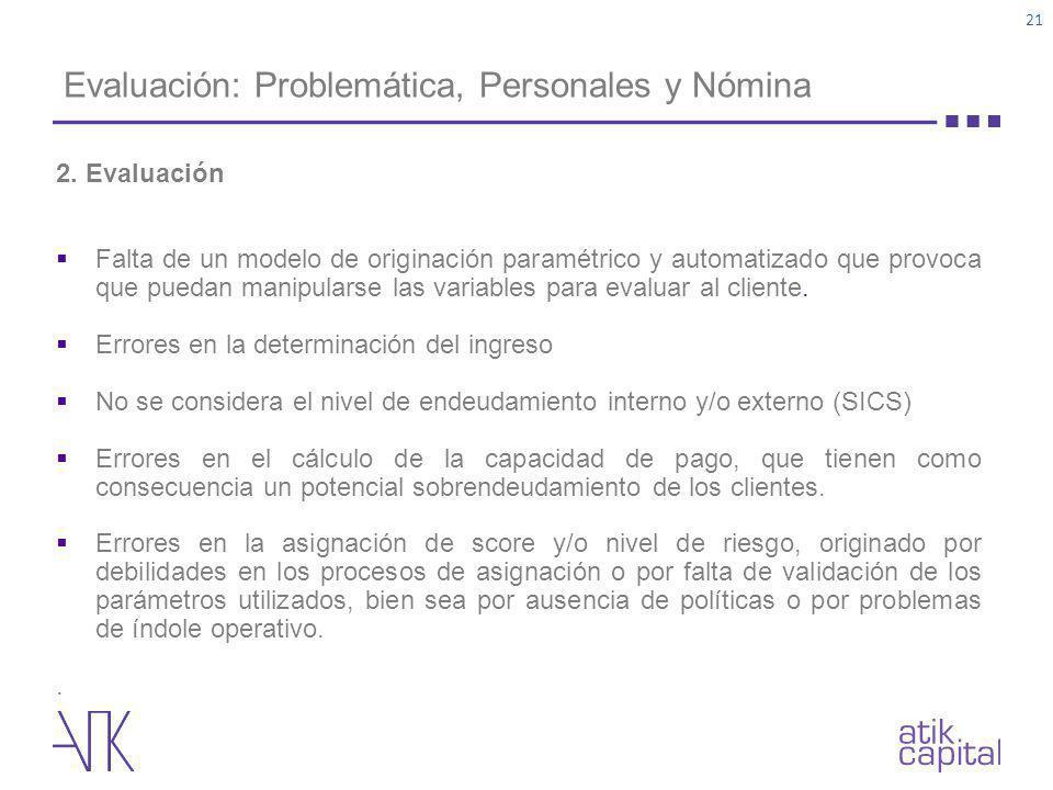 Evaluación: Problemática, Personales y Nómina