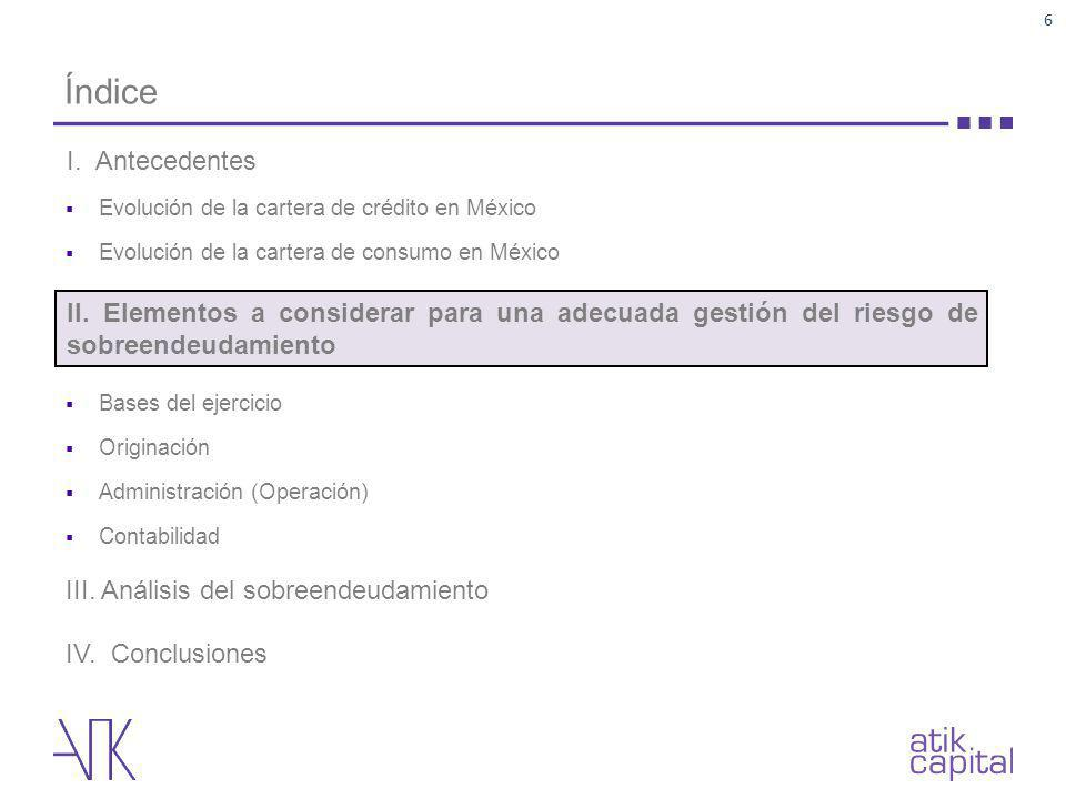 Índice Evolución de la cartera de crédito en México. Evolución de la cartera de consumo en México.