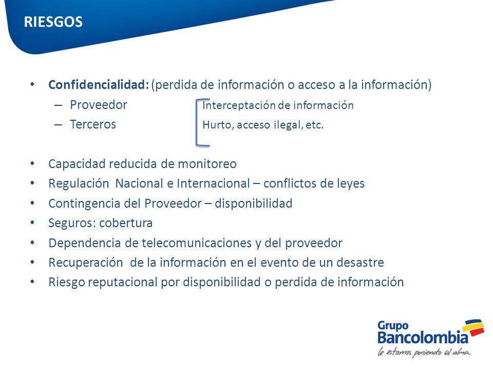 RIESGOS Confidencialidad: (perdida de información o acceso a la información) Proveedor Interceptación de información.