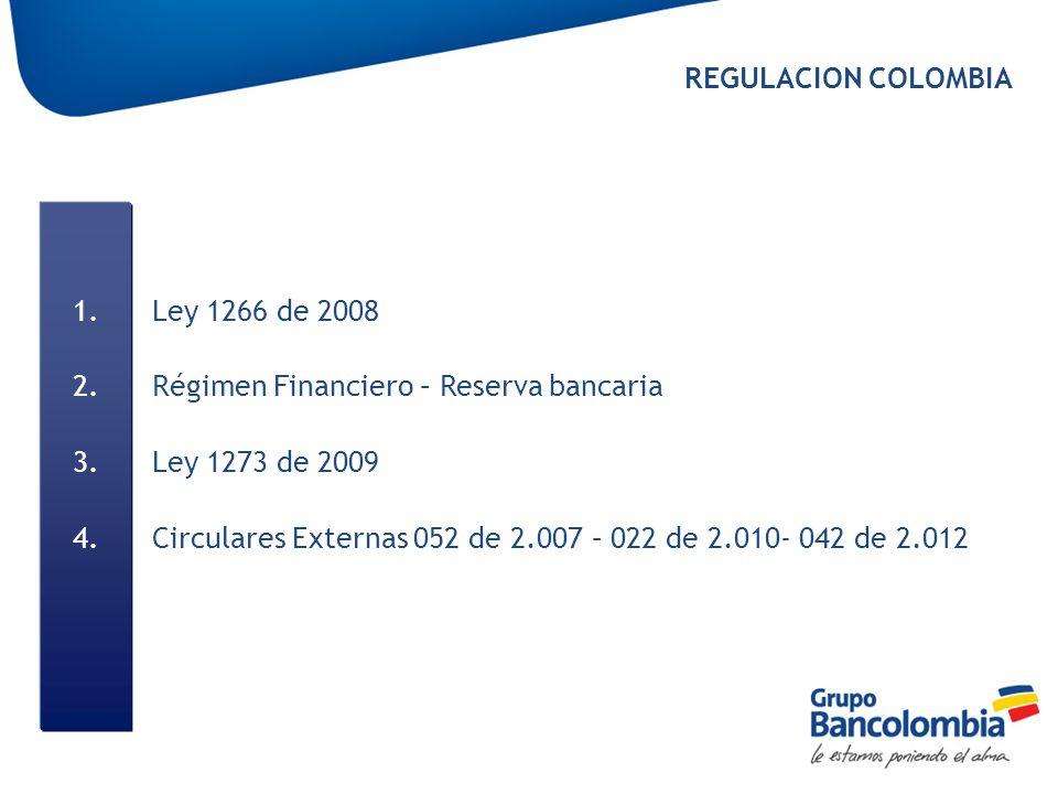 REGULACION COLOMBIA Ley 1266 de 2008. Régimen Financiero – Reserva bancaria. Ley 1273 de 2009.