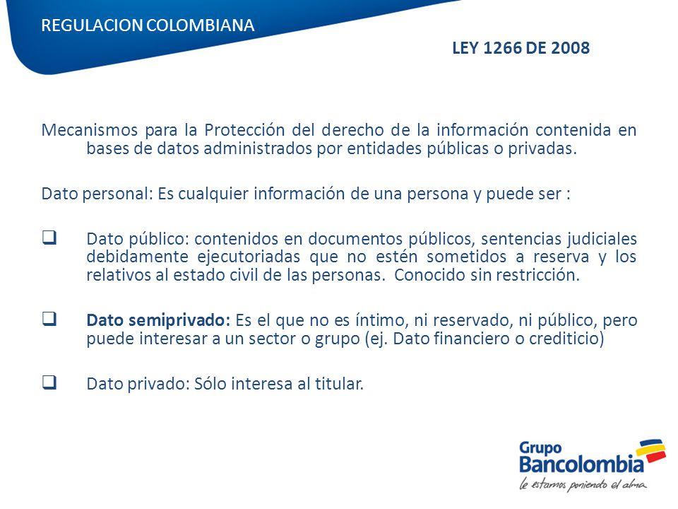 REGULACION COLOMBIANA LEY 1266 DE 2008