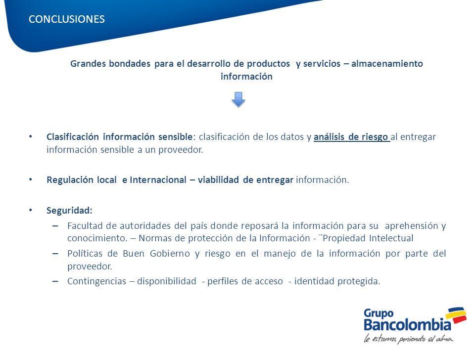 CONCLUSIONES Grandes bondades para el desarrollo de productos y servicios – almacenamiento información.
